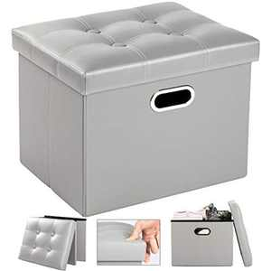 COSYLAND Folding Storage Ottoman Seat Leather Footstool Toy Storage Box Bedroom Foot Stool Toy Chest Shoe Bench Space Saving Boxes 43 x 33 x 33cm (Grey)