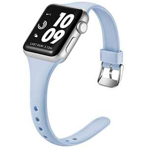 Laffav Sport Band Compatible with Apple Watch 42mm 44mm for Women Men Slim Sport Replacement Wristband for iWatch SE & Series 6 & Series 5 4 3 2 1, Lilac, M/L