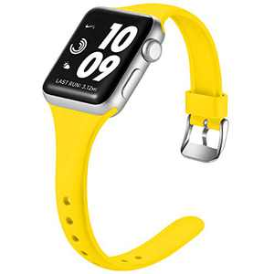 Laffav Band Compatible with Apple Watch 42mm 44mm for Women Men Durable Soft Silicone Sport Slim Replacement Strap Compatible with Apple Watch SE & Series 6 & Series 5 4 3 2 1, Mango Yellow, M/L