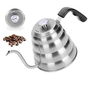 XIRGS Gooseneck Kettle, Pour Over Coffee Kettle Stovetop Induction with Thermometer, Surgical-Stainless Steel Tea Kettle 1.2L/40oz