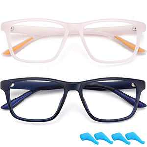 Kids Blue Light Blocking Glasses for Boys Girls Computer Glasses Gaming Screen Glasses Frame Eyeglasses Anti Eyestrain Filter UV Ray 2 Pack Children Age 4 to 10 (Dark Blue+Light Pink)