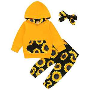 Baby Girls Long Sleeve Flowers Hoodie Sweatshirt Top and Pants Outfit with Kangaroo Pocket Tracksuit Set (18-24 Months, Yellow Black Sunflower)