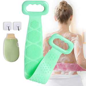 Silicone Body Scrubber Belt & Exfoliating Dual Texture Bath Gloves Back Scrubber Shower Exfoliating SPA Massage Soft Scrubber and Glove Combination for All Kind Skins
