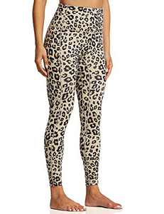 "ZUTY Women's 7/8 High Waisted Workout Yoga Leggings with Pockets Athletic Spandex Leggings Yoga Pants Running Tights 25"" Khaki Leopard S"