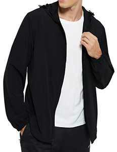 DEMOZU Men's Lightweight Windbreaker Jacket Hooded Full Zip Running Hiking Golf Casual Jacket, Black, S