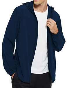 DEMOZU Men's Lightweight Windbreaker Jacket Hooded Full Zip Running Hiking Golf Casual Jacket, Navy Blue, XL