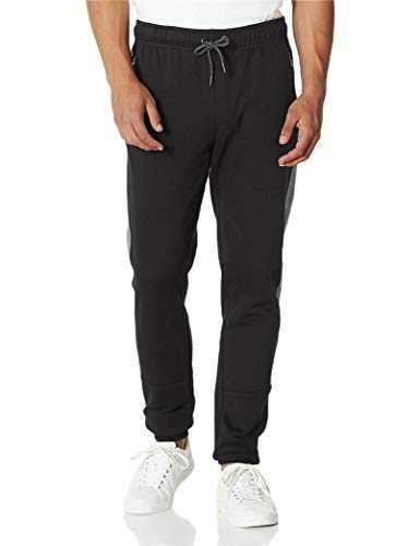 PULI Men's Jogger Fleece Sweatpants Running with Zip Pockets Black Medium