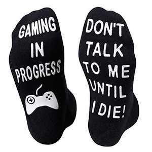 HAPPYPOP Gaming In Progress Socks Gaming Socks Gamer Socks Video Game Socks Funny Gamer Gifts for Gamers Men Women Teen Boys Girls