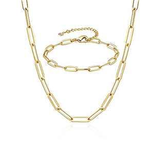 Lcherry Paperclip Choker Necklace Paperclip Bracelet 14K Gold Plated Oval Link Chain Necklace Bracelet Set for Women