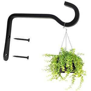 FICHENG Iron Metal Wall Hook Rustic Iron Wall Hooks for Hanging Lanterns, Lights and Artworks, Bird Feeders, Wind Chimes Home Decoration, Indoor & Outdoor, 6 inch Black