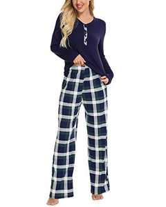 Plaid Pajamas for Women O-Neck Long Sleeve Shirt Plaid Pj Pants Women Button Up Pajama Set Soft Pajamas Navy Blue