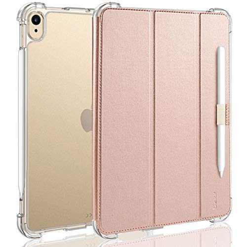 """Valkit Case for iPad Air 4th Generation 2020, iPad Air 4 10.9 Inch Case, [Support 2nd Gen Apple Pencil Charging] Translucent Frosted Protective Smart Back Cover for iPad Air 4 10.9"""" 2020, Rose Gold"""