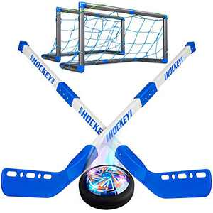 BROADREAM Kids Toy Hover Hockey Sets, Christmas Stocking Stuffers for Birthday Indoor Hockey Set 2 Goals, Rechargeable Led Light Ball for Boys Girls 3 4 5 6 7 8 9 Years Old