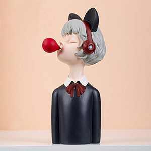 CILILI Bubble Girl Cartoon Sculpture Figure Home Office Decor Gift for Birthday Wedding (Black, Medium)