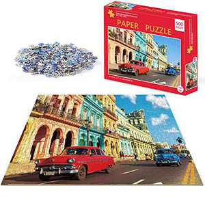 Puzzles for Adults 500 Piece Jigsaw Puzzles 500 Pieces for Adults Kids Teens Jigsaw Puzzle Game Toys Gift Colorful Streets with Cars Old Havana Cuba