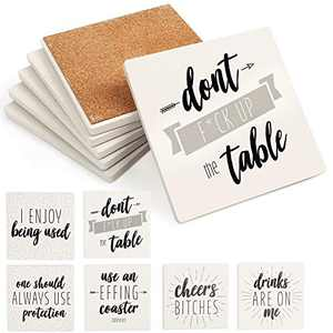"""LotFancy Funny Coasters for Drinks Absorbent, Set of 6, 4"""" x 4""""Ceramic Coasters with 6 Sayings, Square Coasters Set with Non-Slip Cork Base, Bar Room Decor Housewarming Gift"""