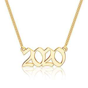 Ursteel 2020 Necklace, Year of Birth, Year of Marriage, Year of Graduation Year Number Old English Necklaces for Daughter Granddaughter Niece