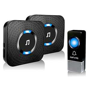 HaFundy Wireless Doorbells,Door Bells & Chimes Wireless with 58 Melodies & 5 Volume Levels,Door Bell Kits with LED Flash Operating at 1000 Feet,2 Receivers Doorbell Wireless for Homes,Office (BLACK)