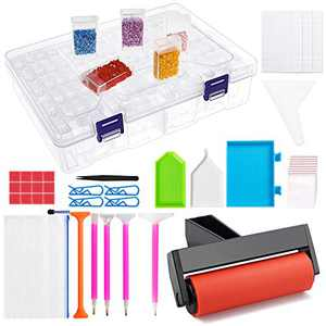 Outuxed 165Pcs Diamond Art Accessories and Tools with 84 Grids Diamond Storage Container Box for 5D Diamond Painting