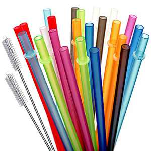 KKMO 24 PCS 10.5 inch Long Rainbow Colored Reusable Plastic Replacement Straws for Tervis, Yeti, Signature, Starbucks Tumblers Cleaning Brush included