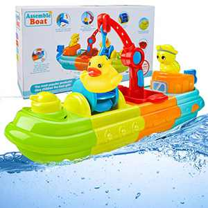 LBLA Bath Toys for Toddlers 1-3, Fun Kids Bathtub Toys for Girls and Boys, Wind Up Toy Boat for Water Play Spray Toys for Baby with Duck and Turtle