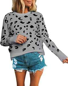 Avanova Women's Leopard Sweater Crew Neck Casual Long Sleeve Pullover Knitted Jumper Tops Grey Large
