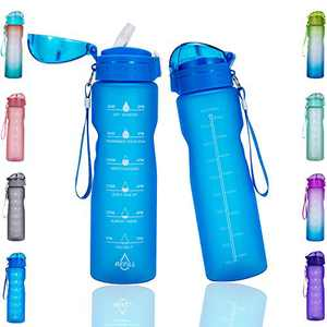 Goothdurs 32 oz Motivational Water Bottle with Time Marker & Straw to Drink– Leak proof BPA Free Non-Toxin for Gym Running Outdoors