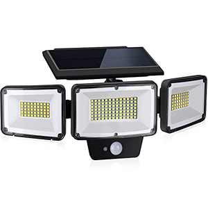 Solar Lights Outdoor Motion Sensor, PARTPHONER 3 Adjustable Heads Security Lights, 181 LED Flood Light Motion Spotlight IP65 Waterproof Solar Landscape Light for Porch Garage Yard Patio, 1 Pack