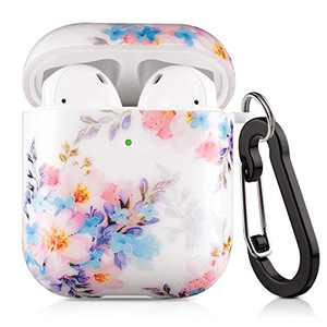 Lokigo Airpods Protective Case Cover Multicolor Floral Flower for Apple Airpods Charging Case 2&1, Hard Case Kit with Keychain, a Great Gift for Girls Women Men - Front LED Visible (Colorful Flowers)