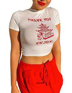 Sofia's Choice Women's Thank You Enjoy Printed Tower Graphic Skinny Slim Fitted Crop Top