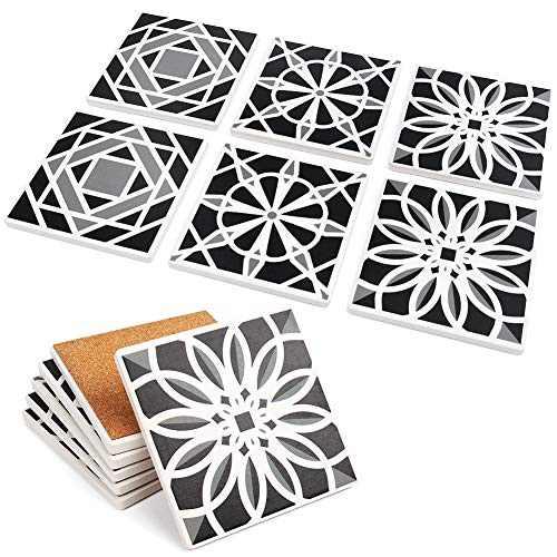 "LotFancy 6PCS Absorbent Coasters, Square Ceramic Coasters with Non-Slip Cork Base, Bar Room Decor Housewarming Gift, 4"" x 4""(Black, Grey & White)"