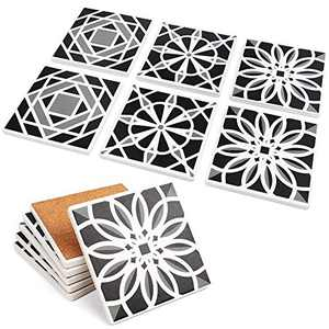 "LotFancy 6PCS Absorbent Coasters, Square Ceramic Coasters with Non-Slip Cork Base, Bar Room Decor Housewarming Gift, 4"" x 4""(Black, Grey & White)"