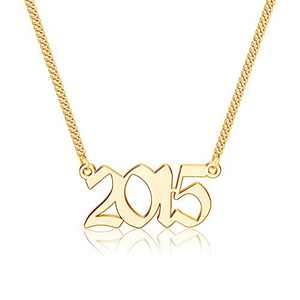 Ursteel 2015 Necklace, Year of Birth, Year of Marriage, Year of Graduation Year Number Old English Necklaces for Daughter Granddaughter Niece