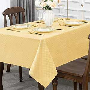 Jacquard Rectangle Table Cloth Oil-Proof Spill-Proof Wrinkle Resistant Tablecloth, Washable Polyester Fabric Heavy Weight Tablecloths for Kitchen Dinning Tabletop Decoration, 52 x 70 Inch, Gold