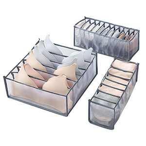 O'woda Underwear Organizer Drawer, 3 Packs Foldable Underwear Drawer Organiser Divider Storage Box Bin for Clothes, Underwear, Bras, Lingerie, Socks, Grey