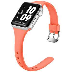 Laffav Sport Band Compatible with Apple Watch 42mm 44mm for Women Men Slim Sport Replacement Wristband for iWatch SE & Series 6 & Series 5 4 3 2 1, Coral, M/L