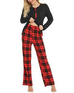 Womens Pajamas Set Plaid Pjs Sets Cotton Plus Size Pajama Set Cozy Loungewear Set Long Sleeve Sleepwear Black
