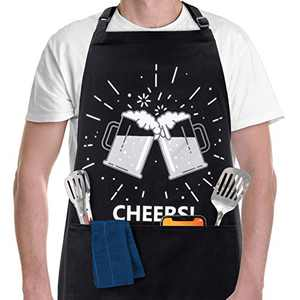 Funny Aprons for Men, Women with 2 Pockets - BBQ Grill Apron for a Husband, Dad, Boyfriend Cooking Apron, Birthday Gift for Men - CHEERS