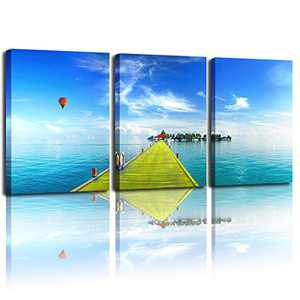 DWGEAR Bathroom Wall Art, Bedroom Painting, Beautiful Tropical Landscape Background, Living Room Concept Mural (12x16 inch x3) Printed Canvas Poster Decoration Painting.