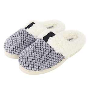 Slippers for Women,Women's Soft Knitted Slippers Memory Foam Anti-Skid Sole House Shoes for Indoor & Outdoor (Grey, Numeric_7)