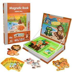 LBLA Cute Animal Puzzle Magnets for Toddlers, 81 pc Magnetic Animal Mix and Match Game for Creativity and Motor Skills, Educational Toys Magnetic Puzzles for Kids Ages 3-5 with Magnet Board