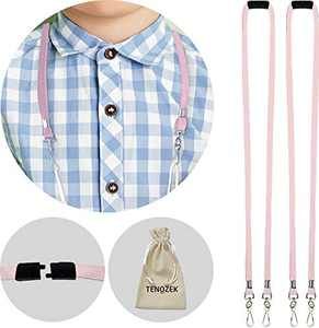 """2pcs Kids/Adults Breakaway Lanyard, Face Màsc Lanyards with Safety Breakaway Clasp - M Size Ear Saver Holder with Swivel J Clips for Child Size FaceMàscs - 18"""" Length(2pcs, Pink)"""