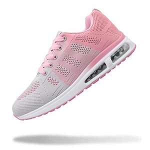 YUHUAWYH Womens Fashion Tennis Walking Shoes Jogging Running Sneakers Sport Air Fitness Gym Pink