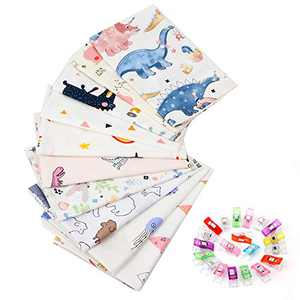 10Pcs Quilting Fabric for Sewing Crafting Fat Quarters Fabric Bundles for Patchwork DIY Sewing Cotton Fabric Printed Floral Pre-Cut Squares 15.7 x 19.7 inches (40 x 50 cm) (BL-5)