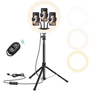 Castanino Selfie Ring Light with 3 Color Modes,10 Adjustable Brightness, 63 inch Extendable Tripod Stand with Phone Holders, Bluetooth Remote Shutter for/Makeup/Live Stream/YouTube/Vlogs (12 inch)