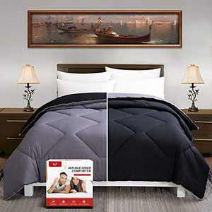 FGZ King Comforter, Bedding Comforter King Size Most Wished for All Season Comforter Down Alternative Duvet Quilted Comforter with Corner Tabs (Black Gray 102''x 90'')