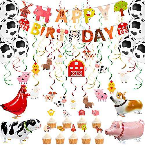 54 Pieces Farm Theme Birthday Decoration Animal Hanging Swirl Party Ceiling Decoration Barnyard Animal Balloon Birthday Banner and Table Centerpiece Stick Hanging Streamer Backdrop for Party Supplies