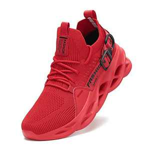 Nihaoya Red Running Shoes Mens Breathable,Comfortable Running Shoes for Mens Red Size 9.5