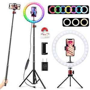 """10.2"""" RGB Selfie Ring Light with 2 Tripod Stands & Phone Holders, UEGOGO 13 Colors RGB LED Ring Light with Remote Shutter, Flashing Light for Live Stream, YouTube Video, Photography, Vlog Shooting"""