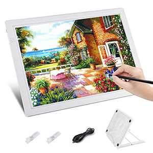 Diamond Painting Light Pad, HOHOTIME Portable Drawing A4 Tracing Light Box, Adjustable USB Power Drawing Copy Board Table for Artists Drawing, Animation, Sketching, White